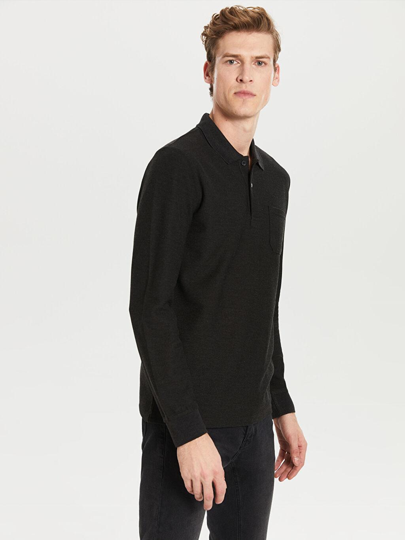 %57 Poliester %27 Akrilik %16 Vıscose Düz Standart Uzun Kol Tişört Polo Düz Uzun Kollu Polo Tişört