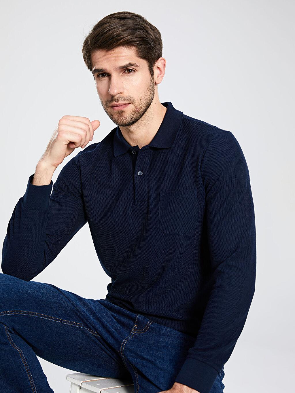 %49 Polyester %21 Viskoz %30 Akrilik Düz Standart Uzun Kol Tişört Polo Düz Uzun Kollu Polo Tişört