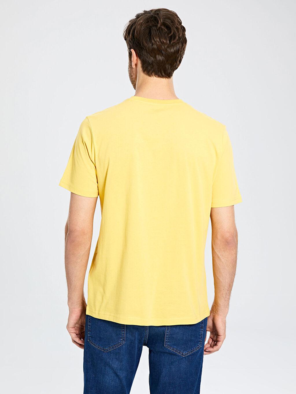 %100 Pamuk Bisiklet Yaka Baskılı Penye Tişört