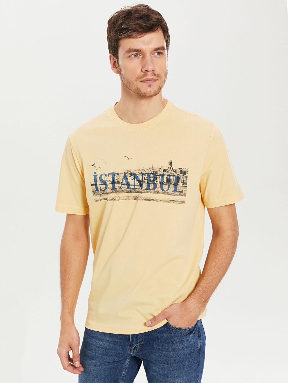 Sarı Bisiklet Yaka Baskılı Penye Tişört 0S5419Z8 LC Waikiki