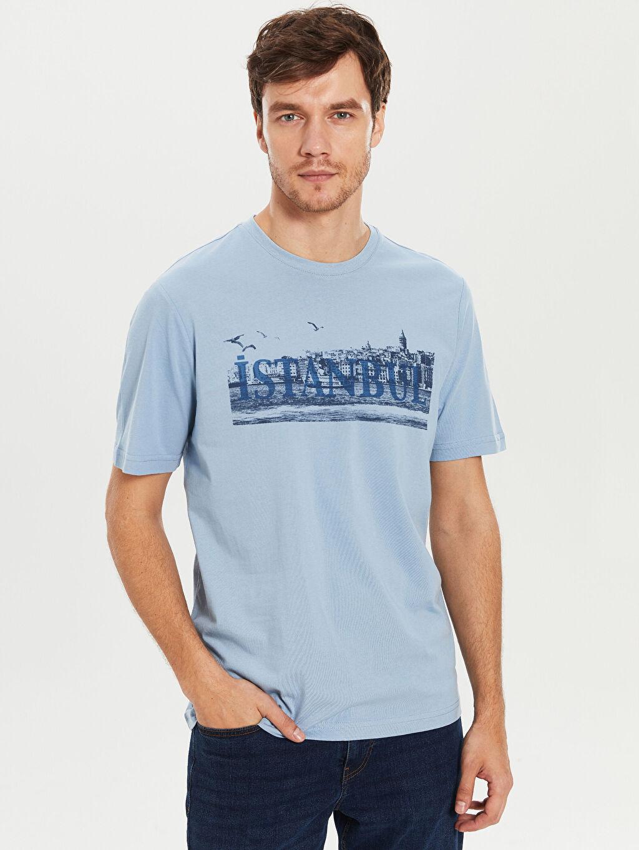 Mavi Bisiklet Yaka Baskılı Penye Tişört 0S5419Z8 LC Waikiki