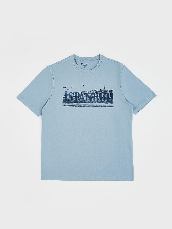 LC Waikiki Mavi Bisiklet Yaka Baskılı Penye Tişört