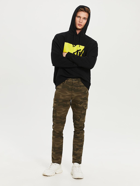 %97 Pamuk %3 Elastan Normal Bel Normal Pilesiz Pantolon Slim Fit Kamuflaj Desenli Kargo Pantolon
