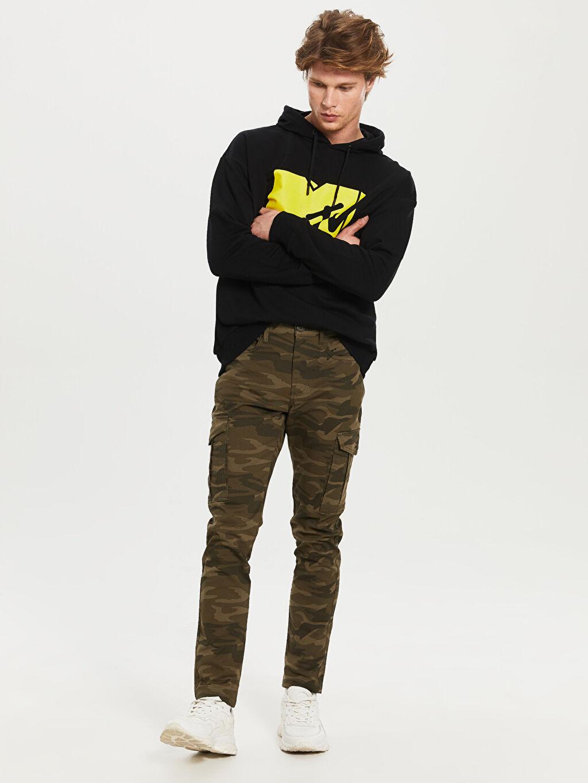 Erkek Slim Fit Kamuflaj Desenli Kargo Pantolon