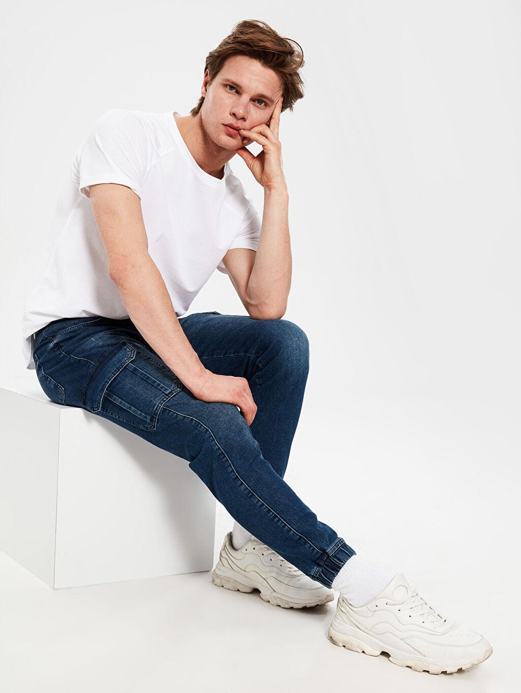 %84 Pamuk %14 Polyester %2 Elastan Normal Bel Dar Jean 780 Slim Jogger Jean Pantolon