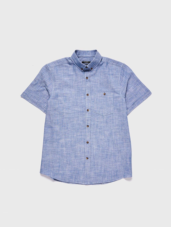 LC Waikiki Mavi Regular Fit Kısa Kollu Keten Gömlek