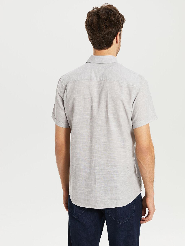 %70 Pamuk %30 Keten Regular Fit Kısa Kollu Keten Gömlek