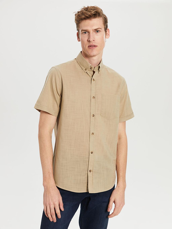 Bej Regular Fit Kısa Kollu Basic Gömlek 0S5743Z8 LC Waikiki