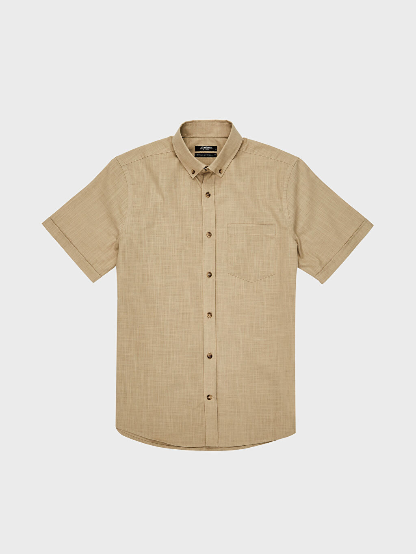 LC Waikiki Bej Regular Fit Kısa Kollu Basic Gömlek