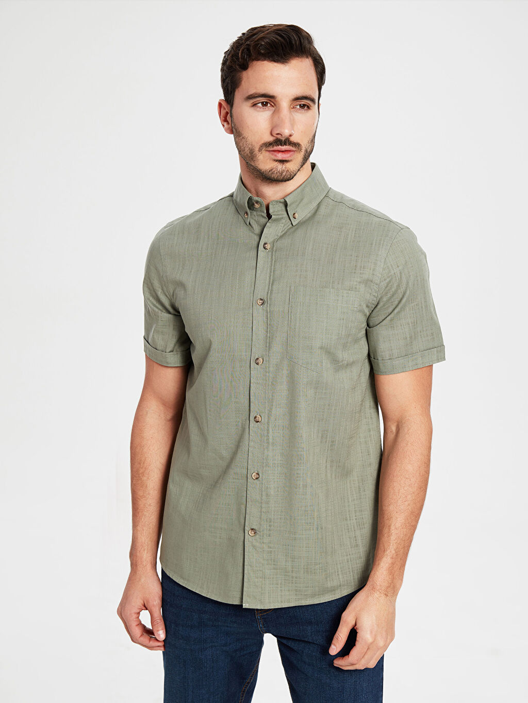 Yeşil Regular Fit Kısa Kollu Basic Gömlek 0S5743Z8 LC Waikiki