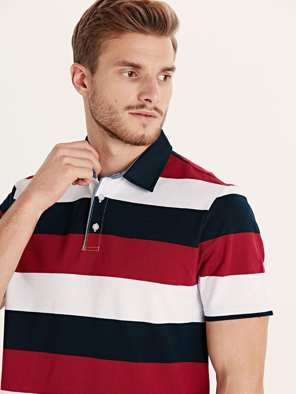 %100 Pamuk Çizgili Bol Kısa Kol Tişört Polo Rahat Kalıp Polo Yaka Çizgili Tişört