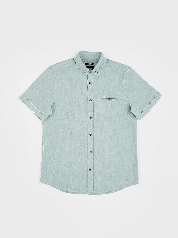 Yeşil regular Fit Basic Kısa Kollu Gömlek