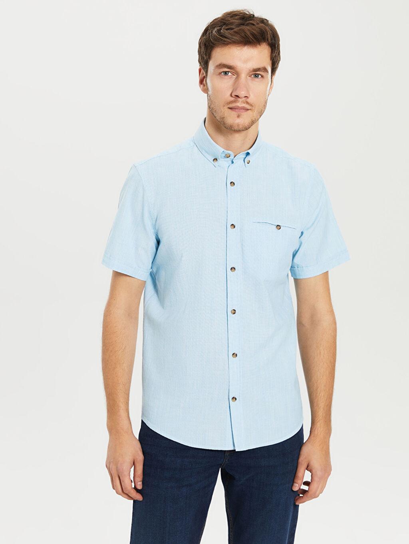 %100 Pamuk Kısa Kol Normal Düz Gömlek Düğmeli regular Fit Basic Kısa Kollu Gömlek