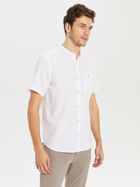 %70 Pamuk %30 Keten Normal Düz Kısa Kol Gömlek Düğmeli Regular Fit Kısa Kollu Poplin Gömlek