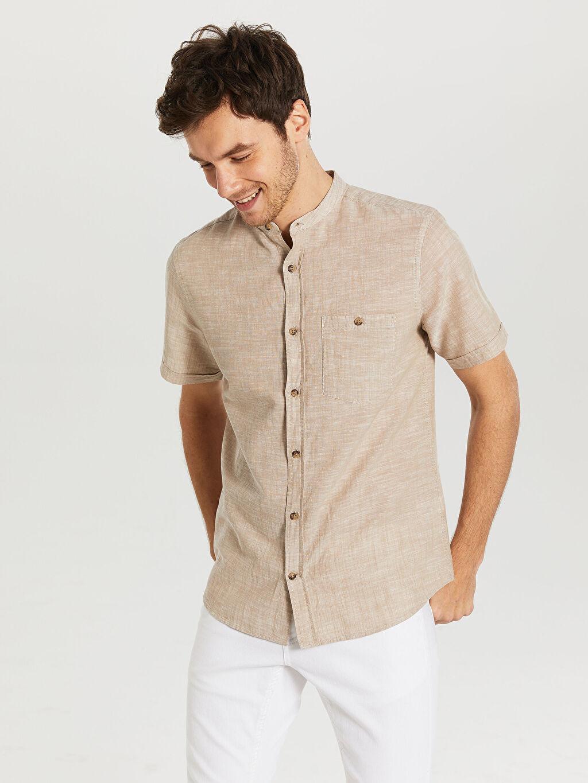 %70 Pamuk %30 Keten Normal Düz Kısa Kol Gömlek Düğmeli Regular Fit Kısa Kollu Keten Gömlek