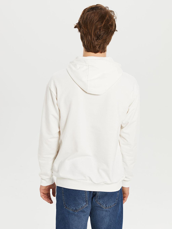 Erkek Kapüşonlu Baskılı İnce Sweatshirt