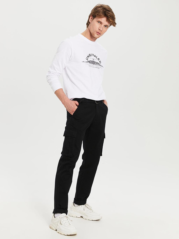 Siyah Regular Fit Gabardin Kargo Pantolon 0S6041Z8 LC Waikiki