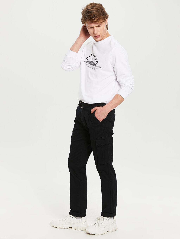 %100 Pamuk Normal Bel Normal Pilesiz Pantolon Regular Fit Gabardin Kargo Pantolon