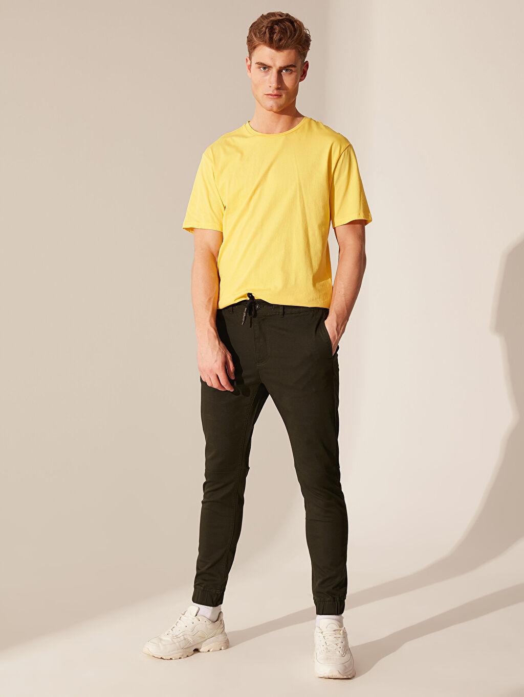 %97 Pamuk %3 Elastan Normal Bel Pilesiz Pantolon Dar Slim Fit Jogger Pantolon