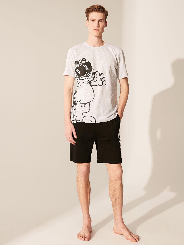 Gri Garfield Baskılı Şortlu Pijama Takımı 0S6244Z8 LC Waikiki
