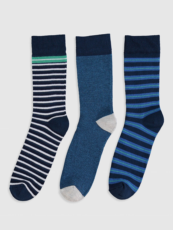 %80 Pamuk %18 Poliamid %2 Elastan  Çizgili Soket Çorap 3'lü