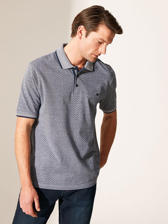 %100 Pamuk Baskılı Bol Kısa Kol Tişört Polo Polo Yaka Dokulu Tişört