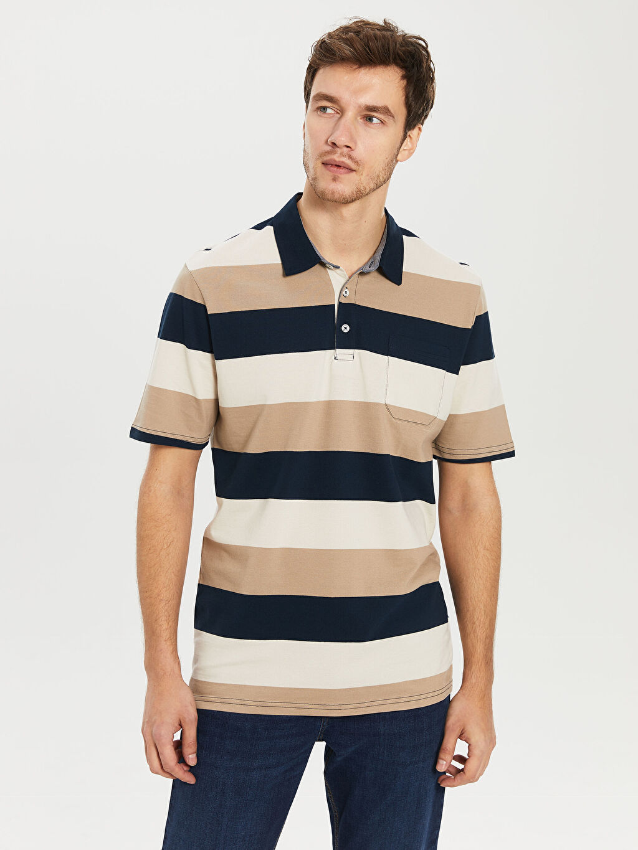 %100 Pamuk Çizgili Bol Kısa Kol Tişört Polo Polo Yaka Çizgili Tişört