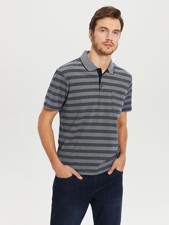 %98 Pamuk %2 Elastan Çizgili Bol Kısa Kol Tişört Polo Polo Yaka Çizgili Tişört