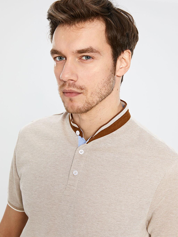 %100 Pamuk Polo Yaka Şeritli Tişört