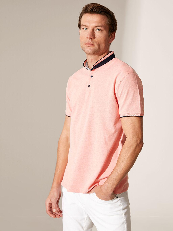 %100 Pamuk Dar Düz Kısa Kol Tişört Diğer Polo Yaka Şeritli Tişört