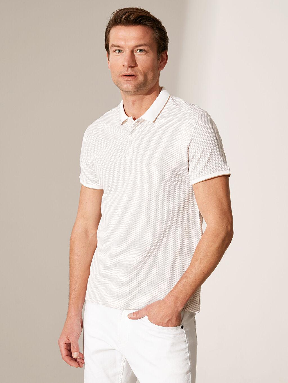 %77 Pamuk %21 Polyester %2 Elastan Dar Polo Düz Kısa Kol Tişört Polo Yaka Basic Tişört