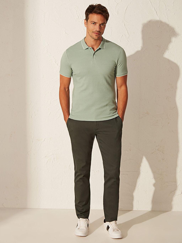%77 Pamuk %20 Polyester %3 Elastan Dar Polo Düz Kısa Kol Tişört Polo Yaka Basic Tişört