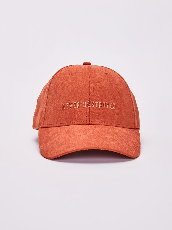 %92 Polyester %8 Poliamid  Yazı Nakışlı Süet Şapka