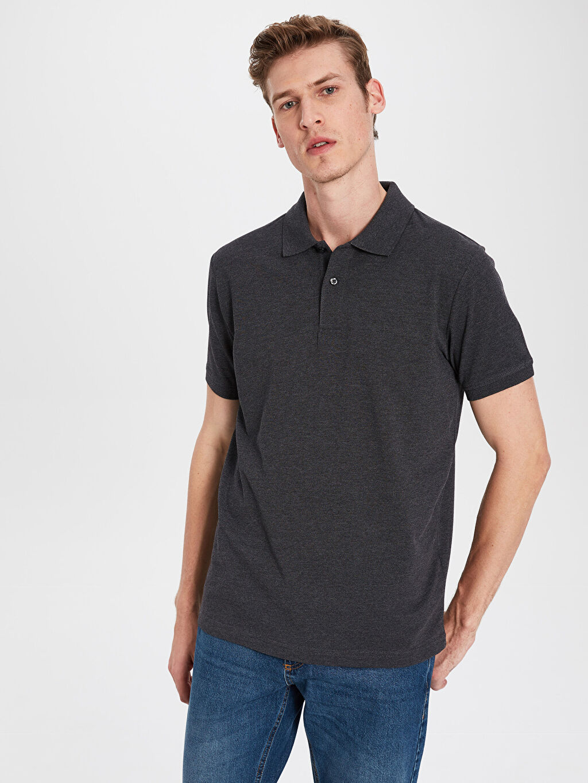 %48 Pamuk %52 Polyester Standart Düz Kısa Kol Tişört Polo Polo Yaka Basic Pike Tişört