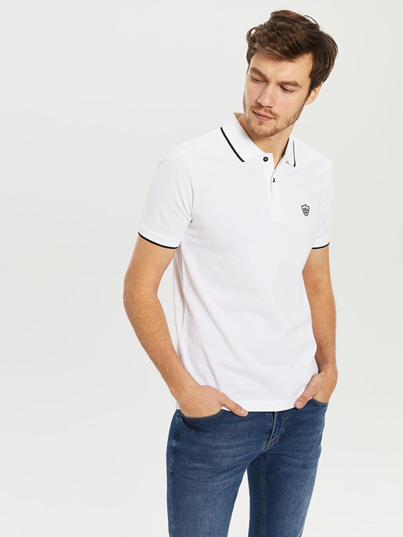 %100 Pamuk Standart Düz Kısa Kol Tişört Polo Polo Yaka Basic Pike Tişört