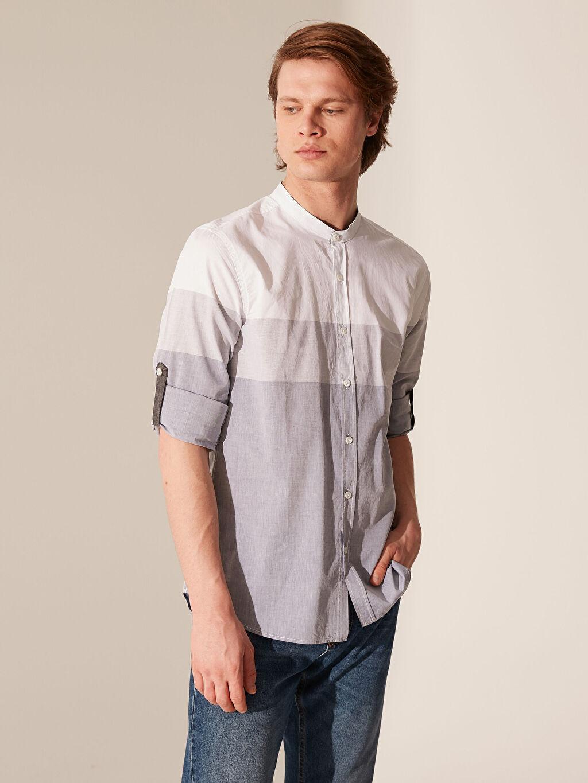 %100 Pamuk Uzun Kol Çizgili En Dar Gömlek Düğmeli Ekstra Slim Fit Çizgili Gömlek