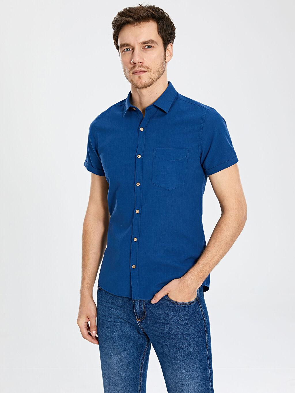 İndigo Ekstra Slim Fit Kısa Kollu Poplin Gömlek 0S7545Z8 LC Waikiki