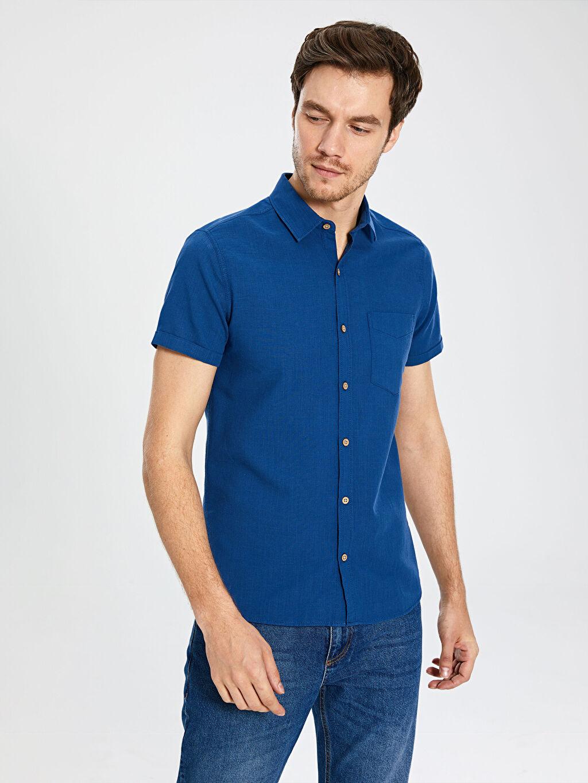 %100 Pamuk Kısa Kol Düz En Dar Gömlek Düğmesiz Ekstra Slim Fit Kısa Kollu Poplin Gömlek