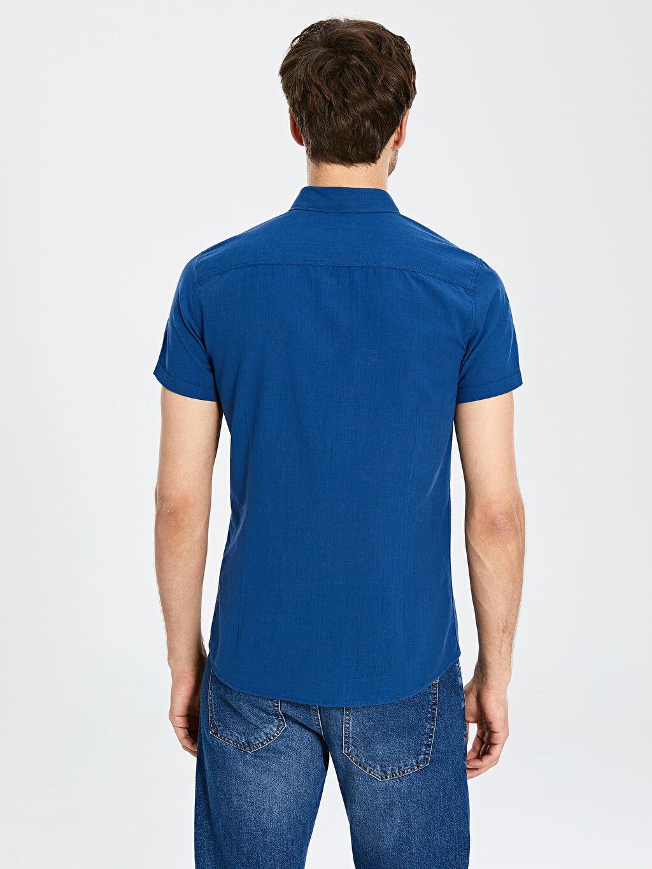 %100 Pamuk Ekstra Slim Fit Kısa Kollu Poplin Gömlek