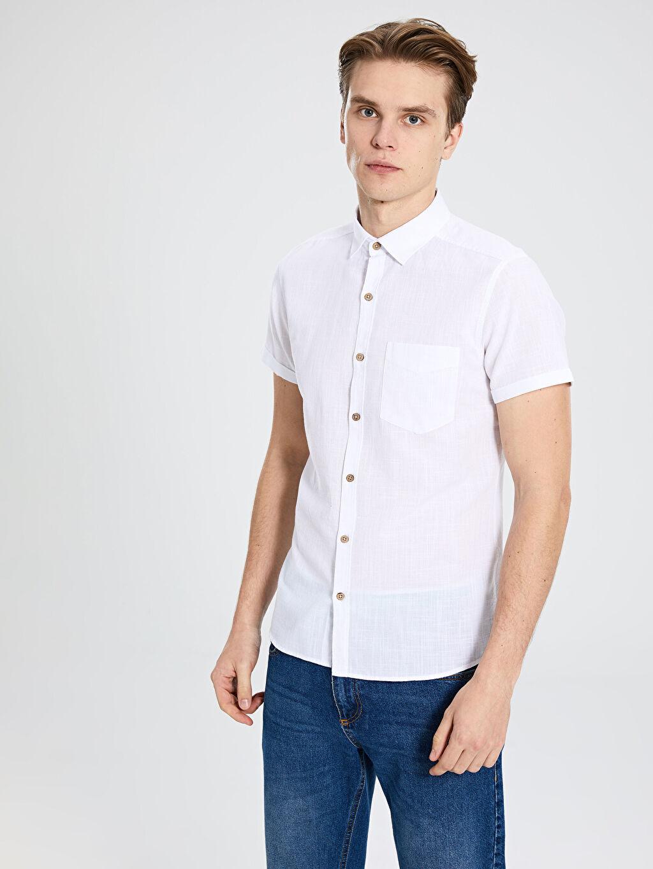 Beyaz Ekstra Slim Fit Kısa Kollu Poplin Gömlek 0S7545Z8 LC Waikiki