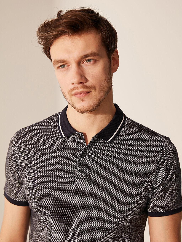 %66 Pamuk %34 Polyester Dar Baskılı Kısa Kol Tişört Polo Polo Yaka Desenli Tişört
