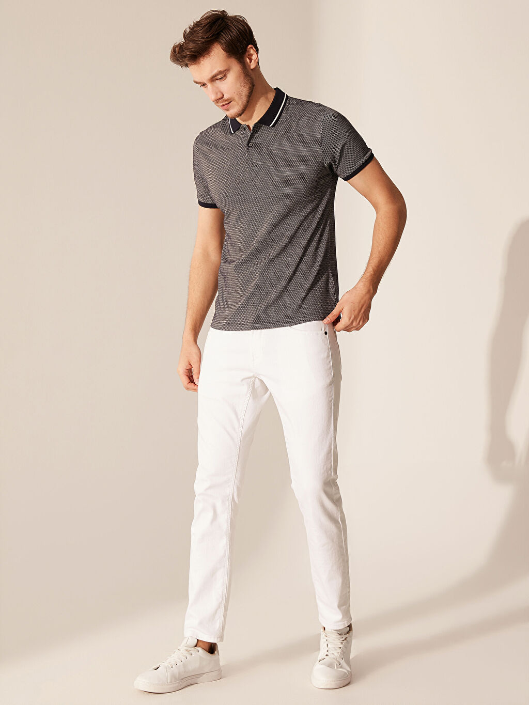 %66 Pamuk %34 Polyester Polo Yaka Desenli Tişört