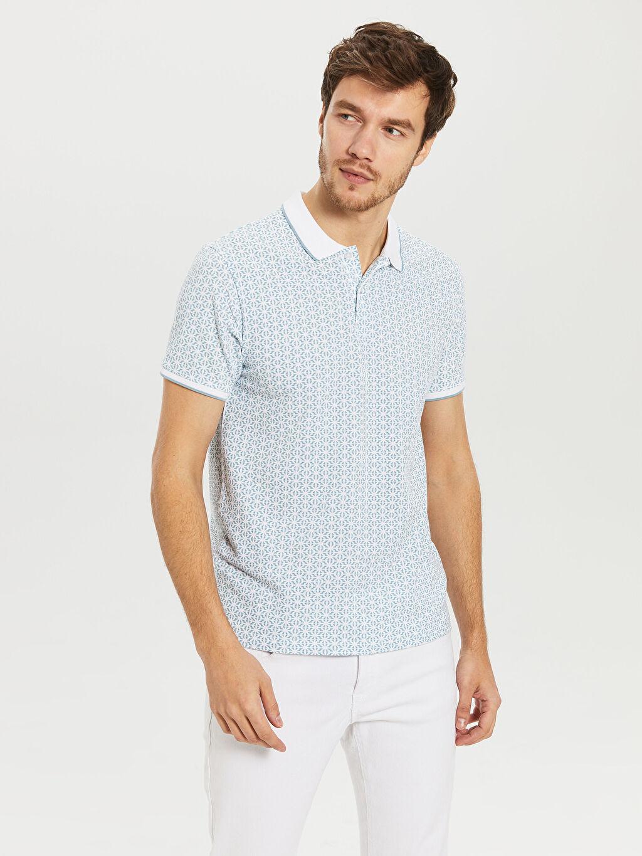 %100 Pamuk Dar Baskılı Kısa Kol Tişört Polo Slim Fit Polo Yaka Desenli Tişört