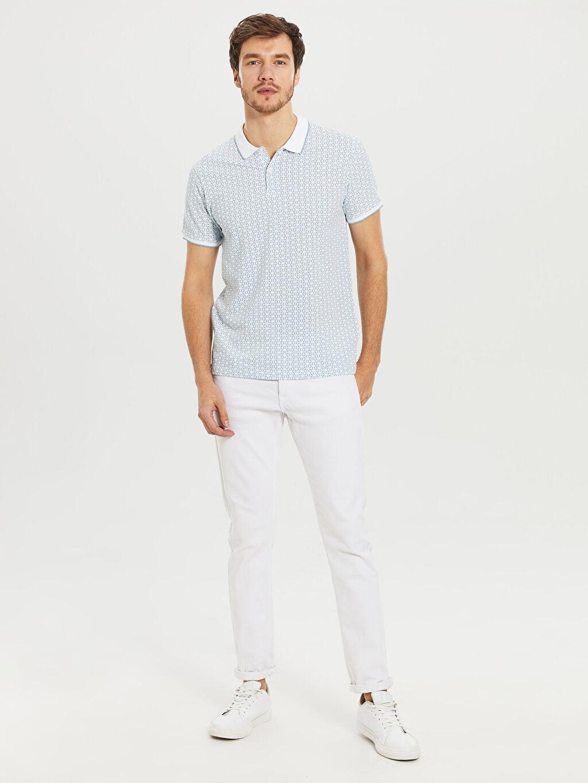 %100 Pamuk Slim Fit Polo Yaka Desenli Tişört