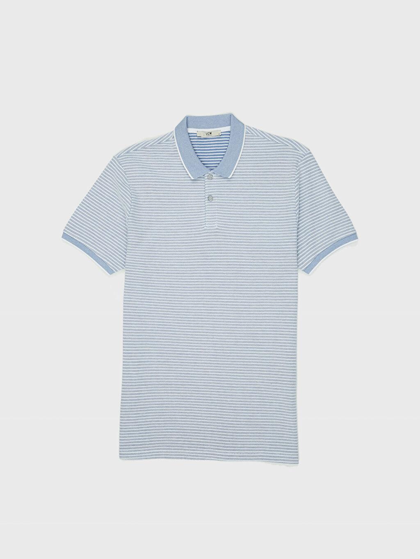 LC Waikiki Mavi Çizgili Dar Kısa Kollu Polo Tişört
