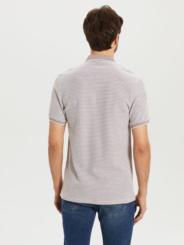Erkek Çizgili Dar Kısa Kollu Polo Tişört