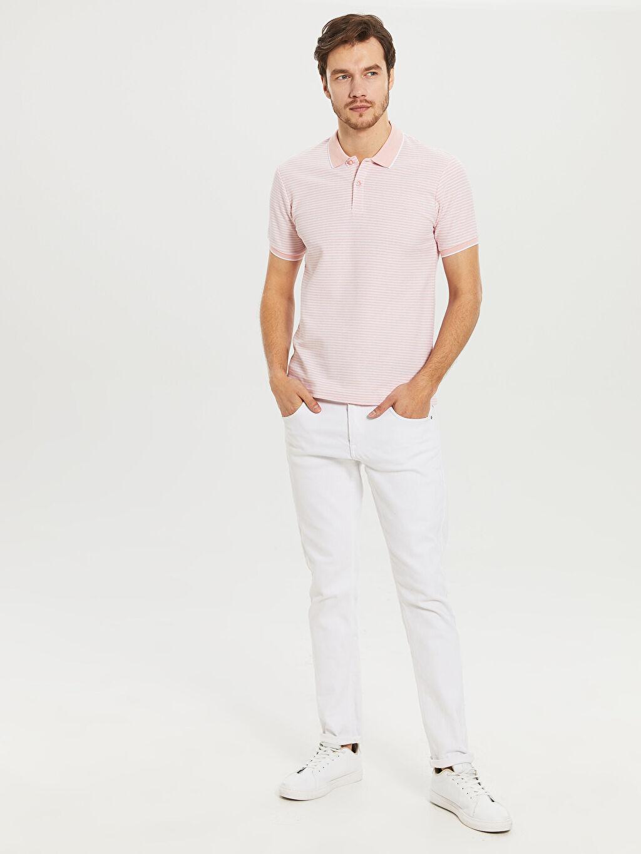 %100 Pamuk Çizgili Dar Kısa Kollu Polo Tişört