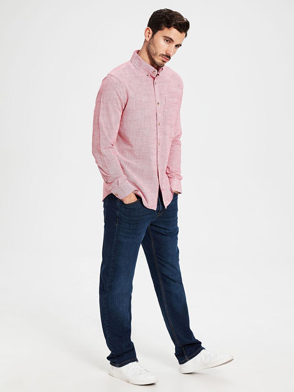 LC Waikiki Kırmızı Regular Fit Uzun Kollu Poplin Gömlek