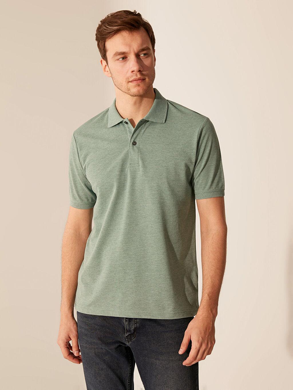 Yeşil Polo Yaka Basic Tişört 0S7572Z8 LC Waikiki