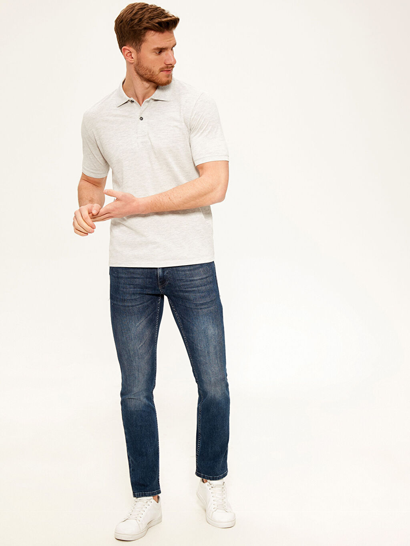 %47 Pamuk %53 Polyester Düz Standart Kısa Kol Tişört Polo Polo Yaka Basic Tişört